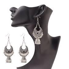 <b>TopHanqi</b> Gypsy <b>Jewelry Indian Jhumka</b> Long Small Bell Fringed ...