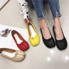 Korean Style <b>Womens Split Toe</b> Flat Oxfords Loafers <b>Leather</b> Slip ...