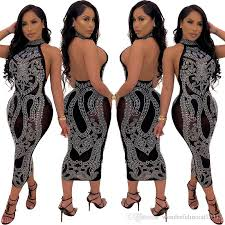 sexy diamonds sheer mesh bodycon evening party mini dress summer women elegant sequins backless clubwear dresses outfit vestidos