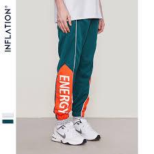 INFLATION <b>2018 FW</b> Letter Printed <b>Side</b> Striped Retro Trousers ...
