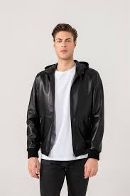 Oscar Men Sports <b>Black Hooded Leather Jacket</b> Black Noble ...