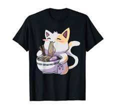 Ramen T-Shirt Cat Tshirt Kawaii Anime Tee Japanese ... - Amazon.com