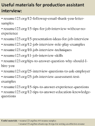 top  production assistant resume samples       useful materials for production assistant