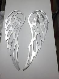 <b>Lot</b> Set of 2 Angel Wings 12 inch Brushed Finish <b>Metal Steel</b> Wall Art ...