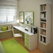 space saving green kids small bedroom and study room design ideas with floating white bookcase by biege study twin kids study room