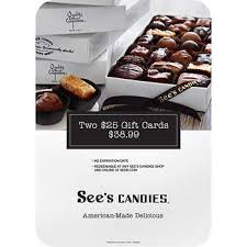 See's Candies, Two $25 Gift Cards   Costco