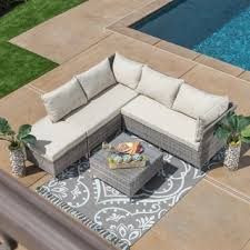 patio couch set corvus bellanger  piece grey wicker outdoor seating set