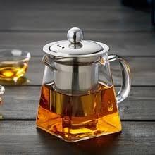 borosilicate glass tea pot set infuser teapot warmer 6 double wall cups
