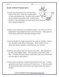 Grade 5 Word Problems Set 4Click to Print!