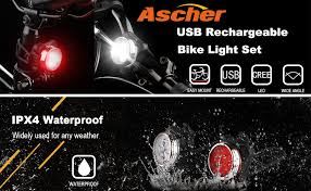 Ascher USB Rechargeable Bike Light Set, Super ... - Amazon.com