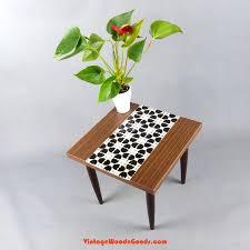 True vintage 1960s <b>MOSAIC SIDE TABLE plant</b> stand stool black ...