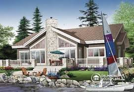 House plan W detail from DrummondHousePlans comRear view   BASE MODEL Lakefront house plan  bedrooms  bathrooms