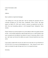 lease termination letter to landloard early lease termination letter template