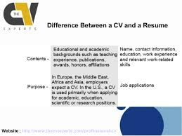 difference between a curriculum vitae and a resume    cv and a resume