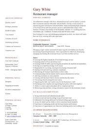 Project management resume writers Restaurant Manager Resume Sample