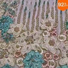 <b>1 yard 3d</b> lace fabric party occasion luxury crystal metallic stone ...