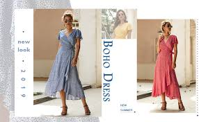 ECOWISH Women's Dresses <b>Bohemian</b> Wrap V Neck <b>Short</b> Sleeve ...