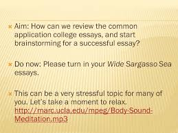 Aim  How can we review the common application college essays  and start brainstorming