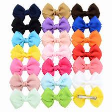 <b>20pcs</b>/<b>lot</b> 2.7inch Safety Solid Ribbon <b>Bow</b> Hairclip Sweet <b>Bow</b> Tie ...