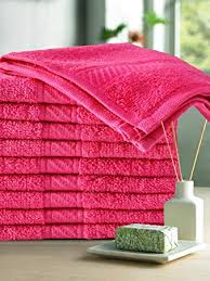 Trident 400 GSM <b>10 Pcs Face</b> Cotton 30 x 30 cm Towel Set Hot Pink ...