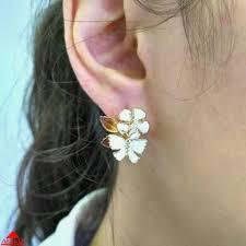 <b>Серьги</b> цветок и бабочка с <b>белой эмалью</b> - 7590283 - АскидА ...