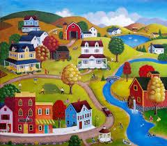 Country Village ~ Steve Klein   Jigsaw puzzles, Art, <b>Cartoon house</b>
