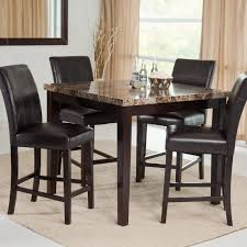 inspiration durable counter height dining table design with square shaped salisbury granite countertop combine cappuccino wood attractive high dining sets