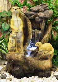 Fontana Cascata Da Giardino : Fontana a cascata con suricati e luci u ac