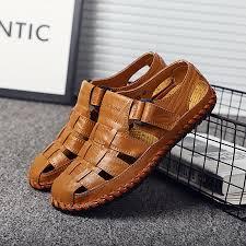 <b>Men</b> Genuine <b>Cow Leather Sandals</b> 2019 Summer Handmade <b>Men</b> ...