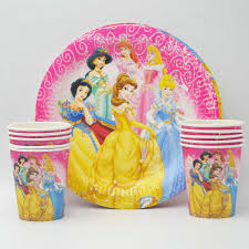 Disney Six <b>Princess</b> Theme Party Supplies Plate Cups Straws Flag ...
