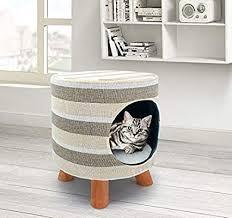 Pet House Cat Stool Nest Dog Den Check <b>Stripe</b> Stool <b>Cat Bed</b> Cat ...