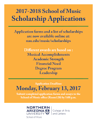 continuing student school of music northern arizona university 2017 2018 scholarship application poster image