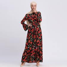 2019 Wholesale Muslim <b>Women O Neck</b> Floral Kaftan Dress <b>S 2XL</b> ...