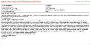 Heavy Truck Driver Application Letter Sample HEAVY TRUCK DRIVER APPLICATION LETTER SAMPLE