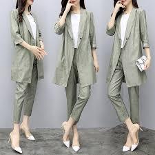 Spring Womens Summer Half Sleeve Long Jacket Trouser Suit <b>Set 2</b> ...