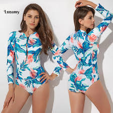 <b>S 2XL</b> 2019 <b>Floral Print</b> One Piece Swimwear <b>Women's</b> Long ...