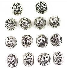<b>10Pcs</b> 5mm Hole Antique Silver Round <b>European</b> Big Hole <b>Beads</b> ...