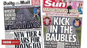 Newspaper headlines: '<b>Tier 4</b> to be <b>widened</b>' and 'kick in the baubles ...