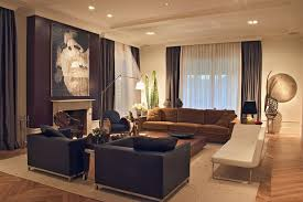 room curtain living room contemporary with brown sofa recessed lighting black armchairs blue dark trendy living room