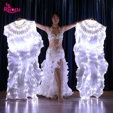 <b>Ruoru</b> 2 pieces = 1 pair <b>Belly Dance</b> Led Silk Fan Veil 100% Silk ...