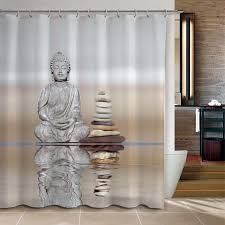 Shower Curtain Buddha & <b>Pebble</b> Reflection Design Bathroom ...
