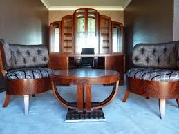 art deco office featuring custom designed chairs and art deco mahogany framed office chair