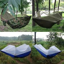 portable high strength parachute fabric camping hammock hanging bed with mosquito net sleeping