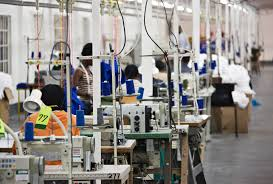 comparing the impacts of industrial jobs and self employment in rows of people working at industrial sewing machines