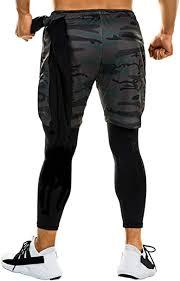 FITTOO <b>Men's</b> 2-in-1 <b>sports shorts</b>, fake two-piece <b>shorts</b>, <b>elastic</b> ...