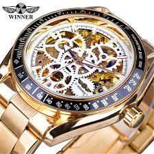 <b>Winner</b> GMT1080 <b>Hollow</b> Gear Dial Men'S Automatic Mechanical ...