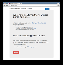 java web app example user login servlet jsp and stormpath java webapp sample home page screenshot