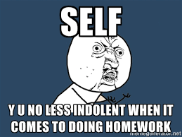 SELF Y U NO LESS INDOLENT WHEN IT COMES TO DOING HOMEWORK - Y U No ... via Relatably.com