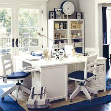blue white study room blue and white furniture