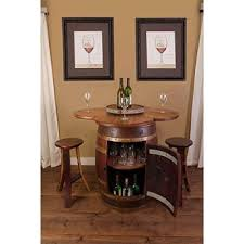 wine barrel table set with cabinet base arched napa valley wine barrel table